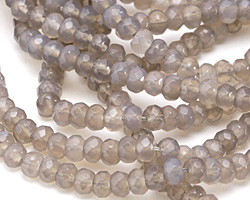 Gray Agate Faceted Rondelle 4x6mm