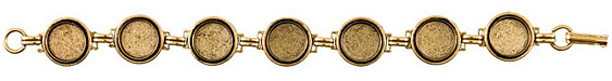 Nunn Design Antique Gold (plated) Small Circle Bezel Bracelet 12mm