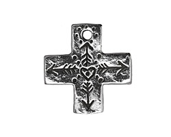 Green Girl Pewter Heart Cross 24mm