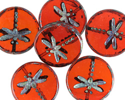 Czech Glass Hyacinth Picasso Dragonfly Coin 17mm