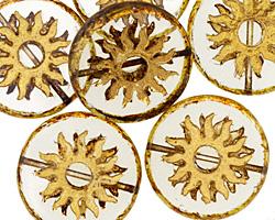 Czech Glass Transparent Picasso w/ Gold Sun Coin 22mm