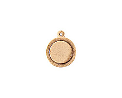 Nunn Design Antique Gold (plated) Raised Tag Mini Circle Pendant 17x21mm
