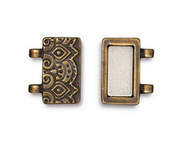 TierraCast Antique Brass (plated) Temple Magnetic Clasp Set 17x17mm