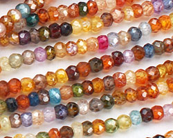 Cubic Zirconia Faceted Rondelle 3-4mm