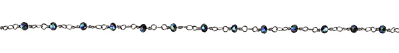 Jet w/ Blue Luster AB Crystal 4mm Antique Silver (plated) Bead Chain