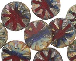 Czech Glass Dragon's Breath Flower Window Coin 18mm