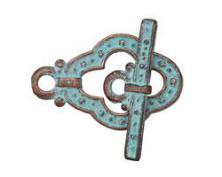 Greek Copper Patina Guinevere Toggle Clasp 21x31, Bar 29mm