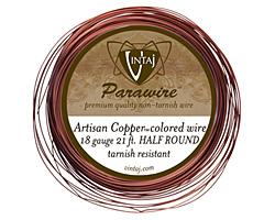 Vintaj Artisan Copper Half Round Parawire 18 gauge, 21 feet