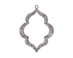 Antique Silver Finish Etched Bali Style Open Pendant 39x53mm