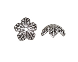 Antique Silver (plated) Leaf Bead Cap 6x14mm