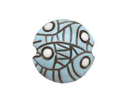 Golem Studio Blue Abstract Carved Ceramic Lentil 23m