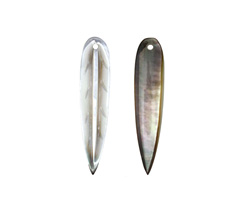 Black Lip Shell Slender Carved Feather Focal 7x34mm