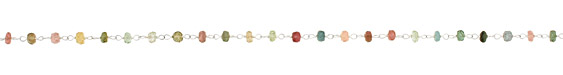 Tourmaline Faceted Rondelle Silver (plated) Bead Chain