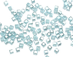 Aquamarine Opaque Crystal Faceted Cube 2mm