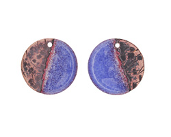 Gaea Copper Twilight Enamel Coin Focal Pair 16mm
