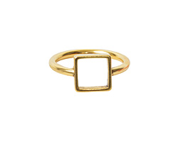 Nunn Design Antique Gold (plated) Open Frame Itsy Square Ring Size 7