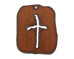 The Lipstick Ranch Rusted Iron Cross Dog Tag 42x50mm