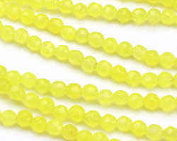 Neon Yellow Colorful Jade Faceted Round 3mm