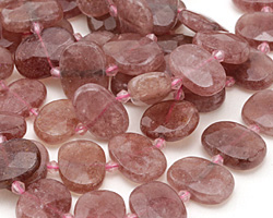 Strawberry Quartz Faceted Flat Freeform Oval 13-15x18-21mm
