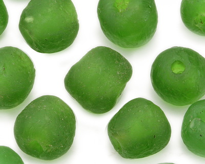 African Recycled Glass Kelly Green Tumbled Round 10-14mm