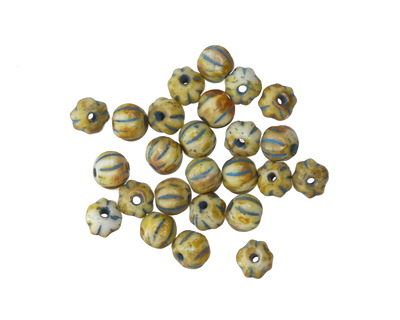 Czech Glass Ivory Picasso w/ Turquoise Melon Round 4mm