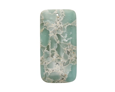 Turquoise Impression Jasper Rectangle Pendant 30x60mm