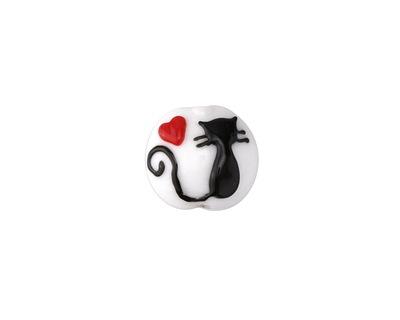 Grace Lampwork Loving Cat Lentil 15x13mm
