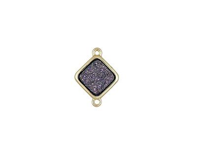 Metallic Solar Crystal Druzy Diamond Link in Gold Finish Bezel 16x12mm