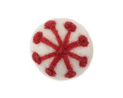Garnet Snowflake on White Felt Round 30mm