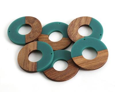 Walnut Wood & Teal Resin Donut Focal 45mm