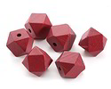 Barn Red Wood Faceted Nugget 20mm