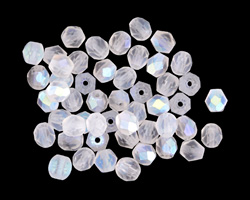 Czech Fire Polished Glass Matte Crystal AB Round 4mm