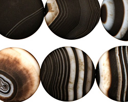 Black Sardonyx (matte) Puff Coin 20mm
