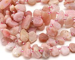Pink Opal Matte Freeform Natural Cut Teardrop 6-12x9-16mm