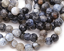 Steel Fire Agate Faceted Round 8mm