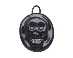 Gaea Ceramic Black Pearl Skull Coin Pendant 22-23x28-30mm
