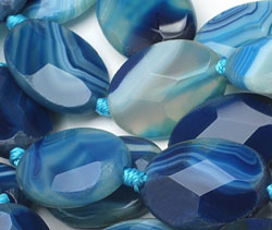 Cobalt Line Agate Faceted Flat Oval 25x18mm
