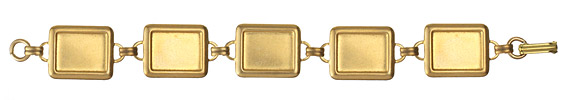 Brass Rectangle Link Bracelet 18x22mm