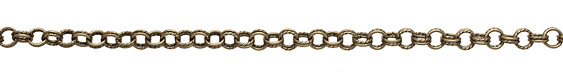 Antique Brass (plated) Every Other Etched Link Double Cable Chain