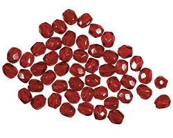 Czech Fire Polished Glass Garnet Round 3mm