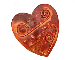 Patricia Healey Copper Textured Heart Pendant 45x49mm