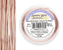 Artistic Wire Silver Plated Rose Gold 18 gauge, 20 feet