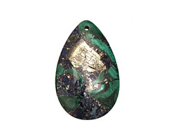 Azurite Malachite & Pyrite Teardrop Pendant 30x47mm