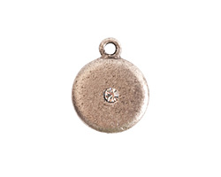 Nunn Design Antique Silver (plated) Small Disk Crystal Charm 13x16mm