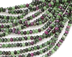 Ruby Zoisite Faceted Rondelle 3-4mm