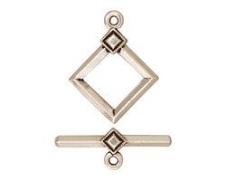 TierraCast Antique Silver (plated) Deco Diamond Toggle Clasp 22x17, 23 Bar