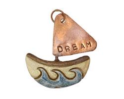 Gaea Ceramic Dream Boat w/ Copper Sail 46-50x51-55mm