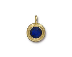 TierraCast Gold (plated) Stepped Bezel Charm w/ Cobalt Crystal 12x17mm