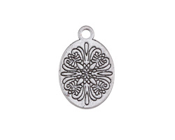 Antique Silver Finish Etched Floral Oval Charm 14x21mm