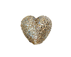 Grace Lampwork Golden Green Metallic Heart 19-20mm